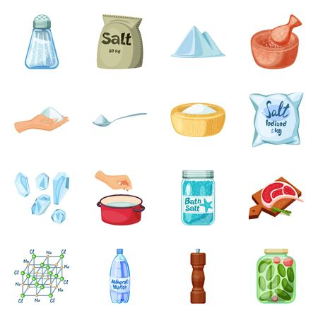 Vector design of salt and food sign. Set of salt and mineral vector icon for stock. Ilustração