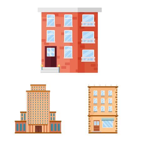 Vector design of facade and building sign. Set of facade and exterior stock symbol for web. Ilustração