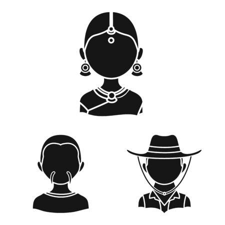 Vector illustration of person and culture symbol. Collection of person and race  vector icon for stock. Иллюстрация