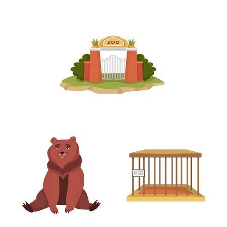 Isolated object of zoo and park icon. Collection of zoo and animal stock symbol for web.