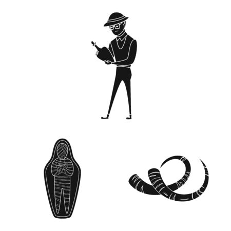Vector design of museum and attributes sign. Collection of museum and historical vector icon for stock. Illustration