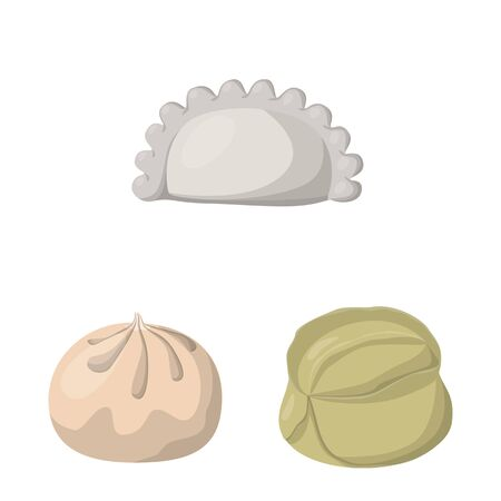 Isolated object of dumplings and food symbol. Set of dumplings and stuffed stock vector illustration.