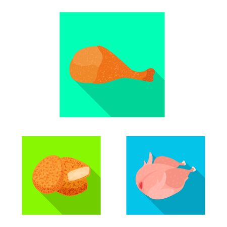Isolated object of product and poultry. Collection of product and agriculture stock symbol for web.
