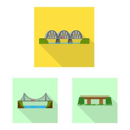 Vector design of bridgework and bridge. Set of bridgework and landmark stock symbol for web.