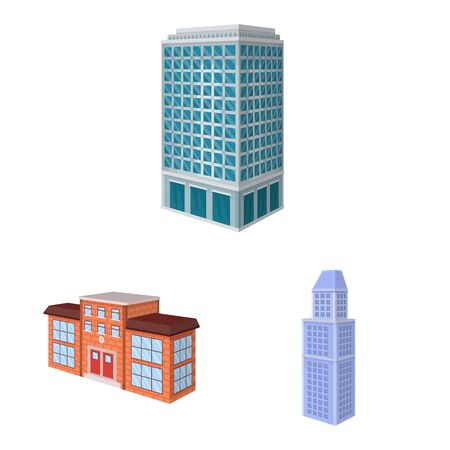 Isolated object of city and build icon. Set of city and apartment stock vector illustration.