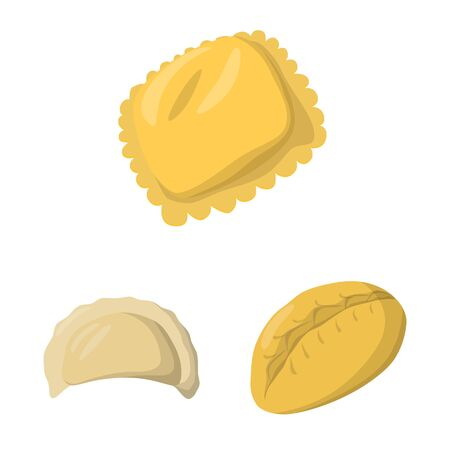 Vector design of dumplings and food. Set of dumplings and stuffed stock symbol for web. Illustration
