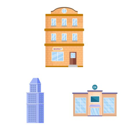Vector illustration of facade and building symbol. Set of facade and exterior vector icon for stock. Stockfoto - 129530603
