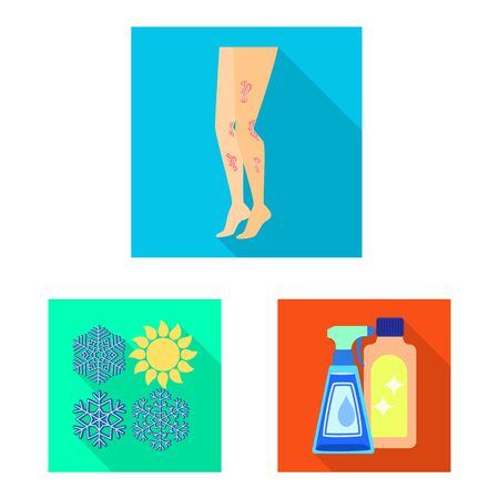 Isolated object of dermatology and disease sign. Set of dermatology and medical stock vector illustration. Illustration