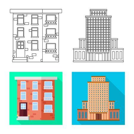Vector design of municipal and center sign. Set of municipal and estate vector icon for stock. Ilustração