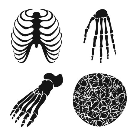 Vector design of biology and medical. Collection of biology and skeleton vector icon for stock.
