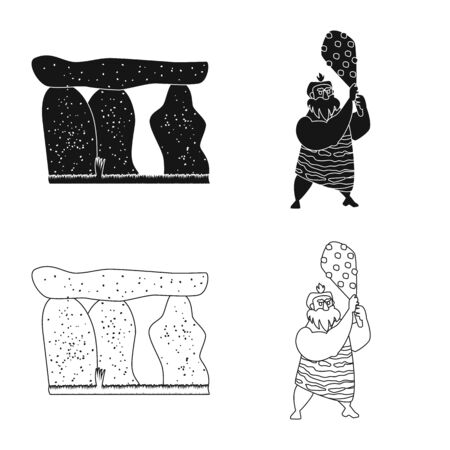 Vector illustration of evolution and prehistory icon. Set of evolution and development stock symbol for web.