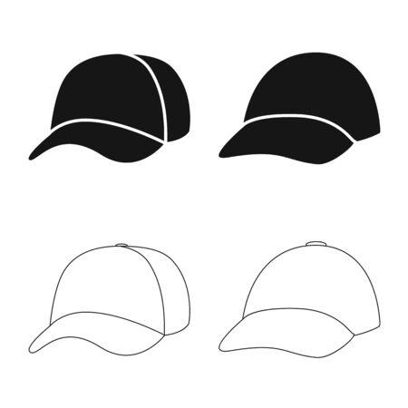 Illustrazione vettoriale di abbigliamento e icona del berretto. Set di abbigliamento e icona di vettore di berretto per stock.