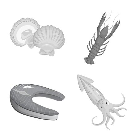 Vector design of seafood and healthy. Set of seafood and ocean vector icon for stock.