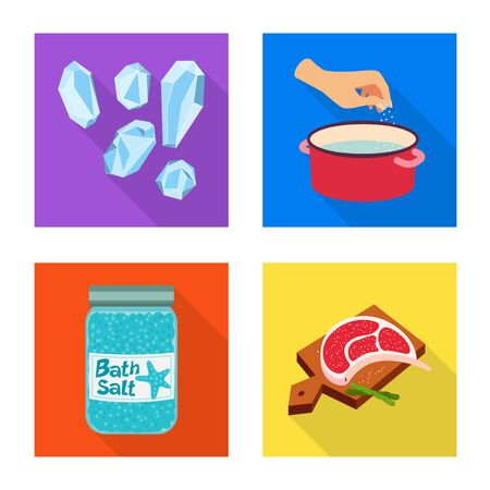 Vector illustration of raw and kitchen icon. Collection of raw and sea stock symbol for web.