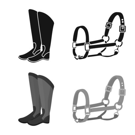 Vector illustration of equipment and riding symbol. Collection of equipment and competition vector icon for stock. 일러스트