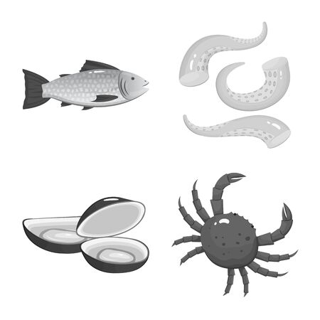 Vector illustration of seafood and healthy icon. Collection of seafood and ocean vector icon for stock.