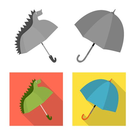 Vector illustration of protection and closed icon. Set of protection and rainy vector icon for stock.