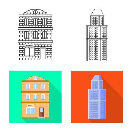 Vector illustration of municipal and center sign. Collection of municipal and estate stock vector illustration. Stockfoto - 129532490