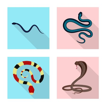 Vector illustration of skin and reptile icon. Set of skin and danger stock vector illustration.