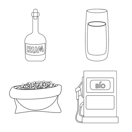 Vector design of sugar and field icon. Collection of sugar and plantation stock vector illustration. Ilustração