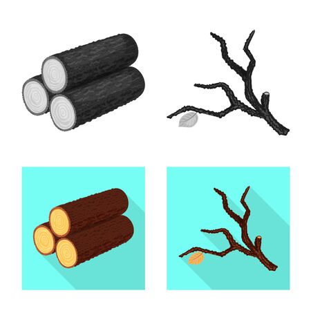 Vector design of tree and raw sign. Collection of tree and construction stock vector illustration. Çizim