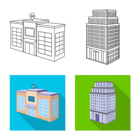Isolated object of construction and building symbol. Collection of construction and estate vector icon for stock. Ilustração
