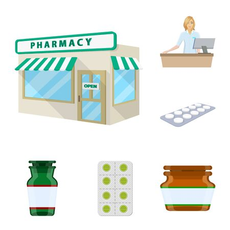 Vector illustration of pharmacy and pharmaceutical. Set of pharmacy and health stock vector illustration.