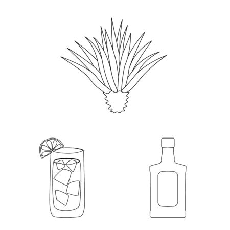 Isolated object of Mexico and tequila icon. Collection of Mexico and fiesta vector icon for stock.