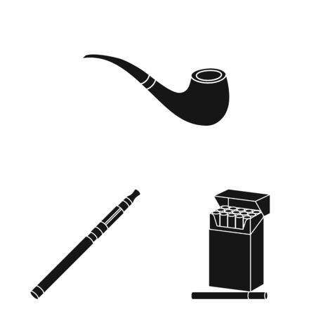 Vector design of anti and habit logo. Set of anti and tobacco stock symbol for web.
