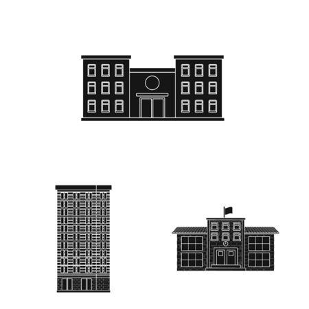 Ilustración de vector de símbolo moderno y de finca. Colección de ilustraciones vectoriales modernas y de construcción.