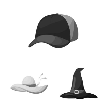 Vector illustration of hat and helmet icon. Collection of hat and profession stock vector illustration. Banque d'images - 129529413