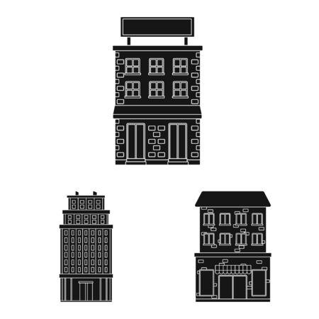 Vector illustration of modern and estate. Collection of modern and building stock vector illustration.
