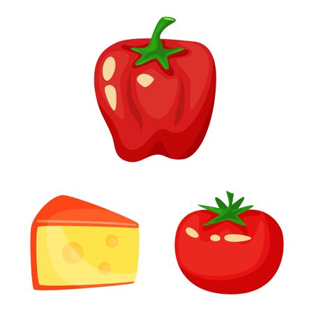 Vector illustration of food and flavors icon. Set of food and ingredient vector icon for stock. 일러스트