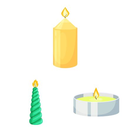 Vector design of light and wax symbol. Set of light and ceremony vector icon for stock. Иллюстрация