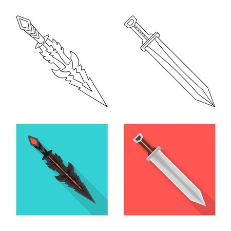 Vector design of game and armor symbol. Set of game and blade vector icon for stock.