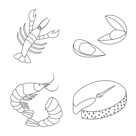 Vector design of food and sea symbol. Set of food and healthy stock symbol for web.