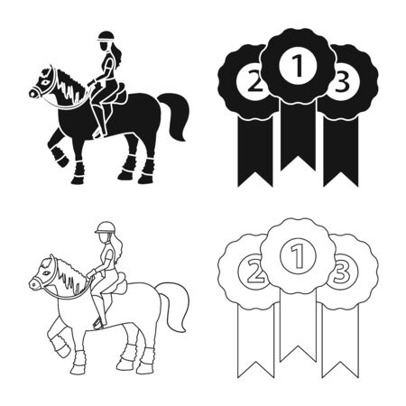 Vector design of equipment and riding symbol. Set of equipment and competition vector icon for stock. 일러스트