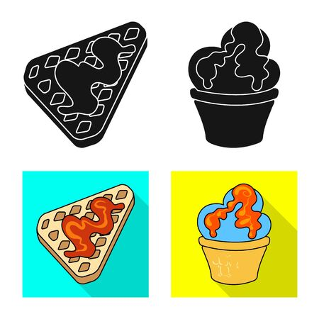 Vector illustration of confectionery and culinary. Set of confectionery and product stock vector illustration.