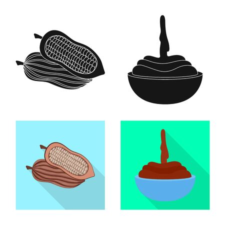 Vector design of food and yummy icon. Set of food and brown stock symbol for web.