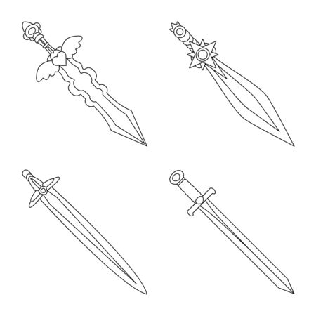 Vector design of game and armor icon. Collection of game and blade stock vector illustration. Иллюстрация