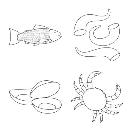 Vector illustration of food and sea sign. Collection of food and healthy vector icon for stock. Ilustração