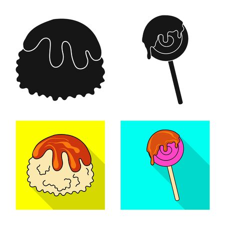 Vector design of confectionery and culinary sign. Collection of confectionery and product stock symbol for web. Stock Illustratie