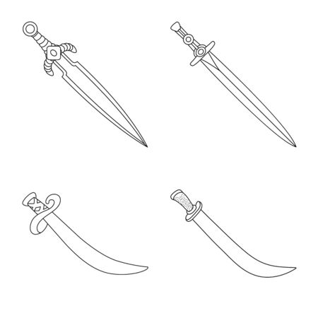 Vector illustration of game and armor. Set of game and blade stock vector illustration.