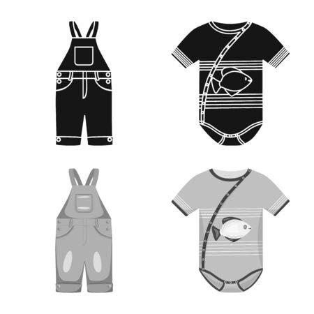 Isoliertes Objekt der Mode- und Bekleidungsikone. Sammlung von Mode- und Baumwollaktiensymbolen für das Web. Vektorgrafik