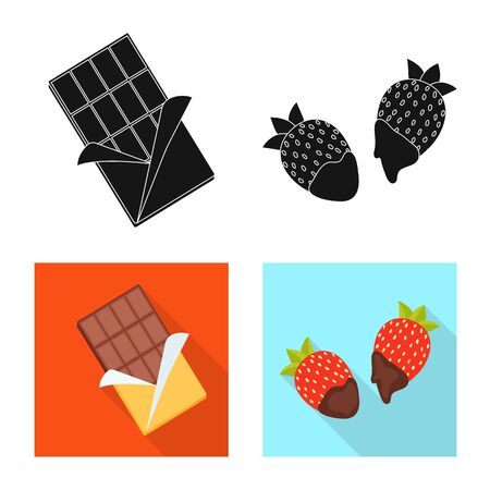 Vector design of food and yummy symbol. Set of food and brown vector icon for stock. Illusztráció