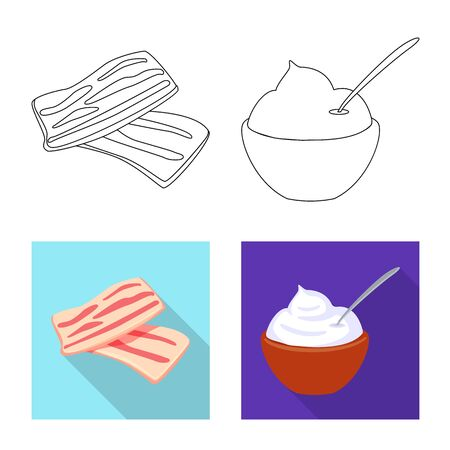 Vector illustration of taste and product symbol. Set of taste and cooking stock symbol for web.