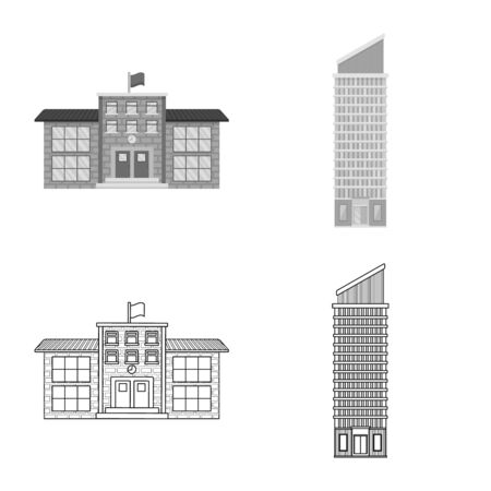 Vector illustration of municipal and center sign. Collection of municipal and estate stock vector illustration.