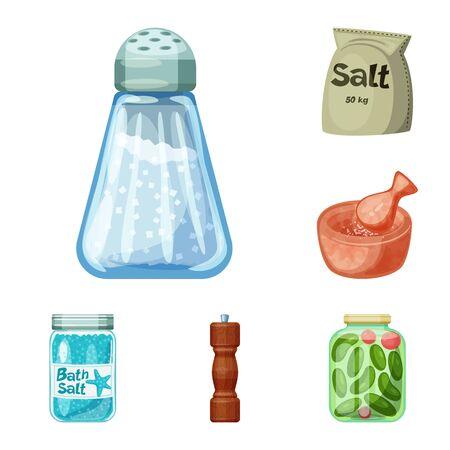 Vector illustration of salt and food sign. Set of salt and mineral stock symbol for web.