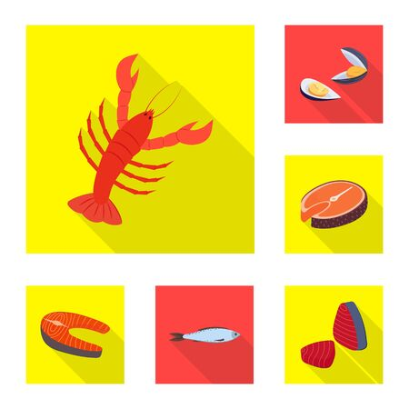 Vector illustration of product and ocean symbol. Set of product and restaurant vector icon for stock.