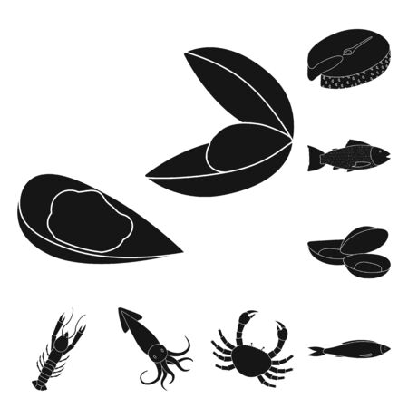 Vector design of market and marine sign. Collection of market and sea stock vector illustration.